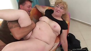 mature blonde gets creampied after sucking and fucking a big cock