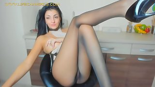 pov close up foot fetish and nylon pantyhose. mature