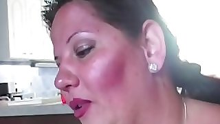 Busty mature fatty titfucked before blowbang