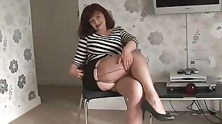 Thick tits mature in short skirt and stockings