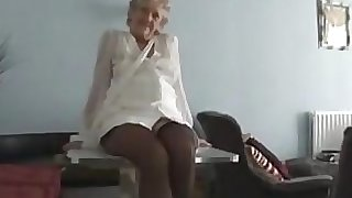 Kinky Grandma Taunting Her Mature Pussy