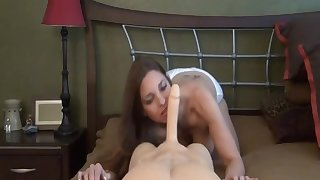 nasty mature blows and rides fake male stick
