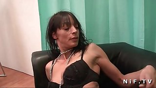 Skinny french mature gets deep anal romped